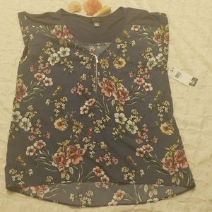 Cute blue floral top new with tags! By BCX.